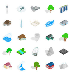 City landscape icons set isometric style vector
