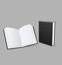 closed and open black book vector image
