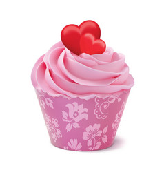 Cupcake or muffin decorated with hearts isolated vector