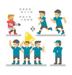 flat design football player set vector image