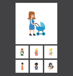 Flat icon mam set of parent woman kid and other vector