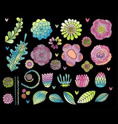 flower hand drawn set on black background vector image