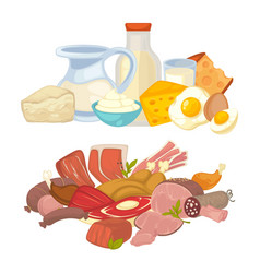 Food meat and dairy milk products flat vector