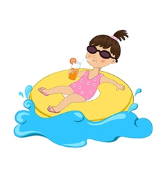 Girl on float vector