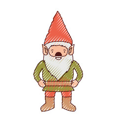 gnome with costume in colored crayon silhouette vector image