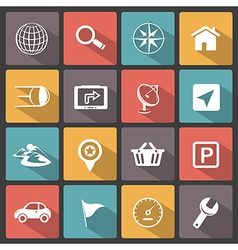 GPS navigation icons vector image vector image