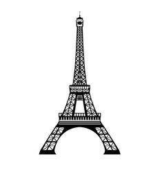 Ink black eifel tower hand drawn landmark vector