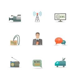 Journalist reporter icons set vector
