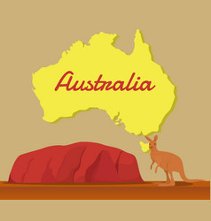 Kangaroo with australia map for traveling vector