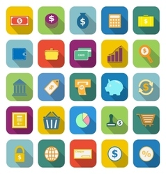 Money color icons with long shadow vector image vector image