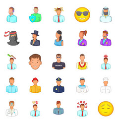 People icons set cartoon style vector