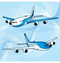Realistic passenger aircraft with turbines vector