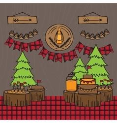 Rustic Woodsy Outdoor Lumberjack party ideas vector image vector image