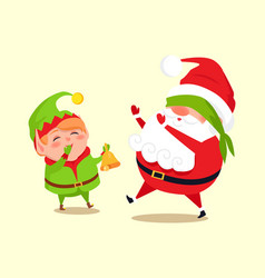 Santa and elf cartoon character having fun in snow vector