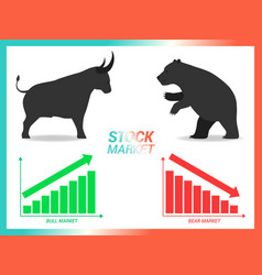 Stock market concept bull vs bear are facing and vector