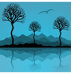 trees are reflected in lake a vector illustration vector image