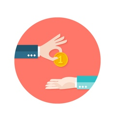 Two businessmen money coin circle flat icon vector
