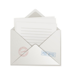 Uncovered envelope few lined paper isolated vector