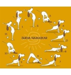 Cartoon positive dog doing yoga position of Surya vector image
