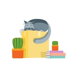 Cardboard Box and a Cat Concept Of Moving vector image