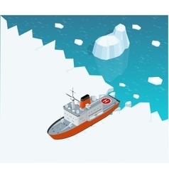Isometric nuclear-powered icebreaker sailing in vector