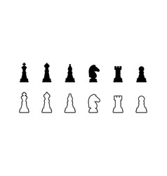 Chess pieces black and white icons vector