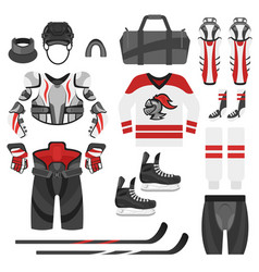 Flat style set of hockey equipment vector