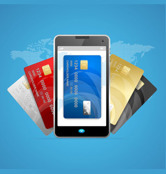 Concept of phone pay with credit plastic card vector