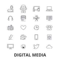 digital media marketing social life technology vector image