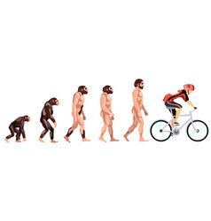 evolution of the cyclist vector image
