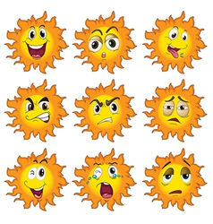 Different facial expressions of the sun vector