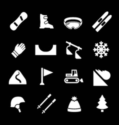 Set icons of skiing and snowboarding vector
