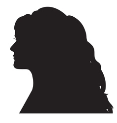 Female silhouette head with a curl long hair vector