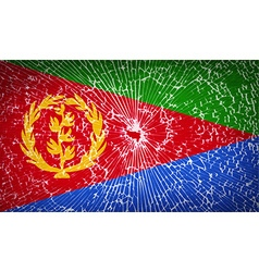 Flags eritrea with broken glass texture vector