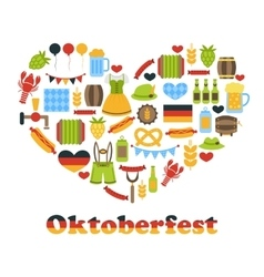 Heart made in oktoberfest colorful symbols vector