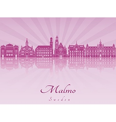 Malmo skyline in purple radiant orchid vector
