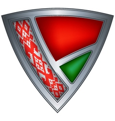 Steel shield with flag belarus vector