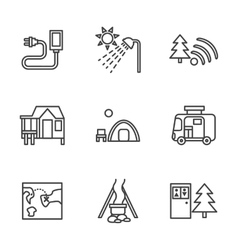 Forest camping black flat line icons vector