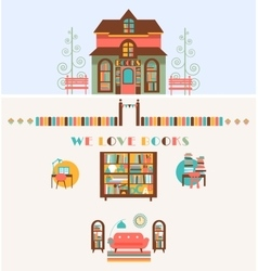 Bookstore set with exterior interior elements vector