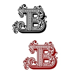 Letter b with calligraphic swirls and dot ornament vector