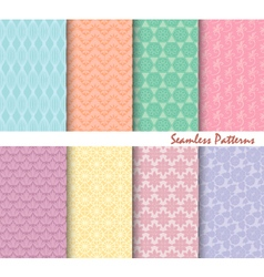 Set of eight seamless patterns backgrounds vector