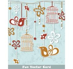 wedding invitation card with a bird cage vector image
