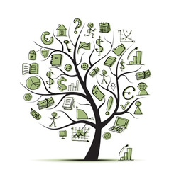 Art tree concept with business icons vector image
