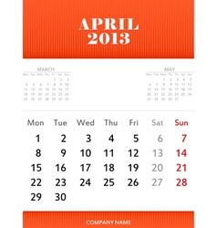 April 2013 calendar design vector