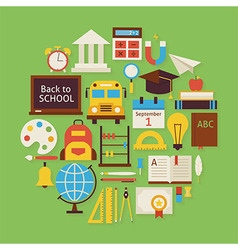 Back to School and Education Flat Design Circle vector image vector image