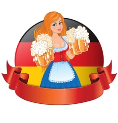 Bavarian girl with beer vector