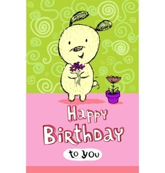 Birthday greeting card with cute puppy vector image vector image