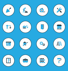 Building colorful icons set collection of case vector