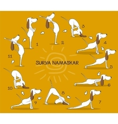 Cartoon positive dog doing yoga position of Surya vector image vector image