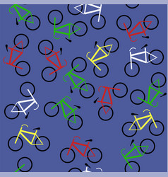 Colored bicycles silhouettes seamless pattern vector
